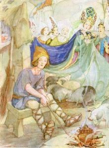 Ilustración de Anne Anderson para el cuento de Hans Christian Andersen, El Porquero