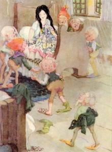 Blancanieves, ilustración de Anne Anderson sobre el texto de los Hermanos Grimms