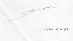 Firma y fecha manuscritas de Francisco Carrasquer a pie de artículo
