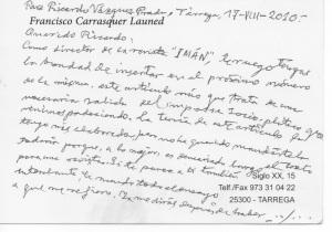 Nota manuscrita de Francisco Carrasquer dirigida a Ricardo Vázquez Prada, anterior director de Imán