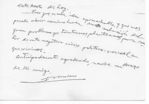 Nota manuscrita de Francisco Carrasquer, dirigida a Ricardo Vázquez Prada, anterior director de Imán (cara posterior de la nota)