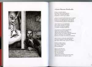 Poema dedicado a Javier Barreiro y retrato del mismo, realizado por el hijo de Francisco Carrasquer