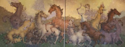 A RAPA DAS BESTAS 292 x 114 cm óleo sobre lienzo (díptico) Zaragoza. 2013