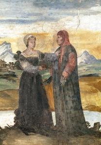 Laura atrapa el corazón de Petrarca. Fresco en la casa natal del poeta.