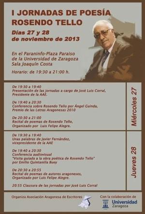 Rosendo Tello. Cartel jornadas organizadas por la AAE, Zaragoza 2013