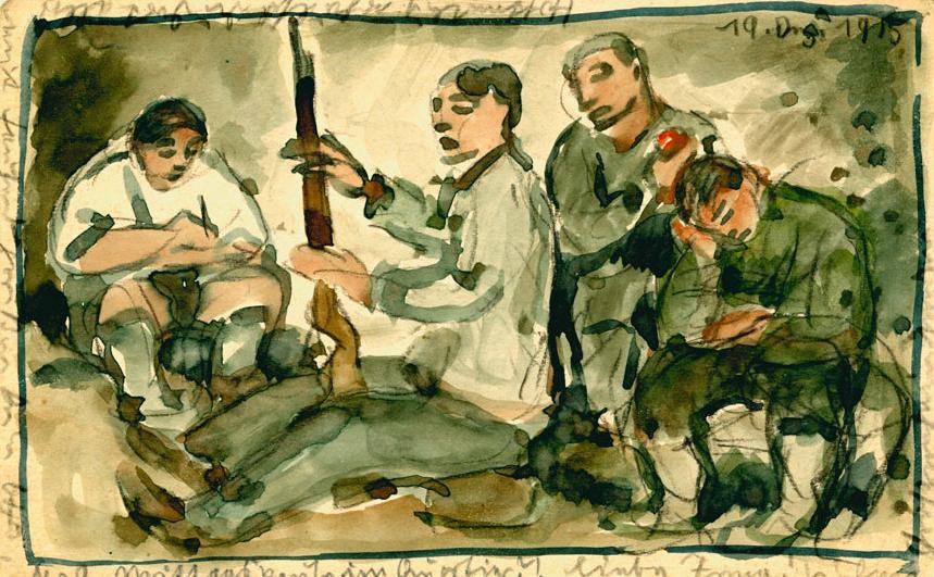 El pintor alemán, Otto Schubert, envió a su prometida Irma decenas de postales en las que dibujó escenas de la vida cotidiana de los soldados en la trinchera entre 1914 y 1916