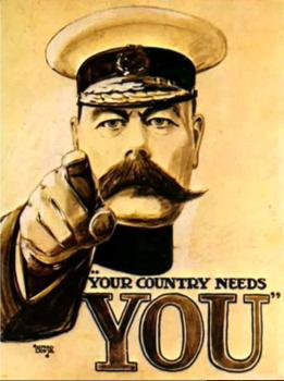 Cartel de reclutamiento británico: ¡Tu pais te necesita!