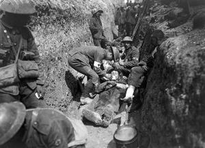Trinchera tras la batalla. Primera Guerra Mundial