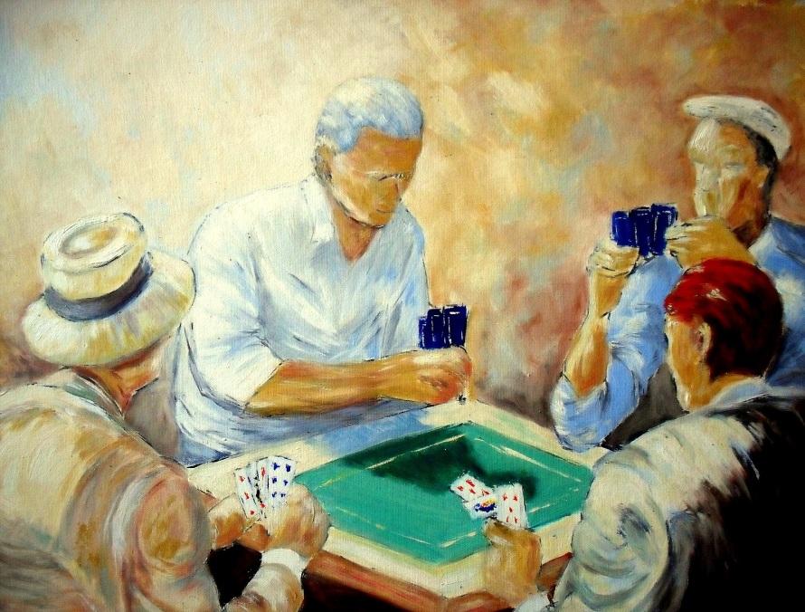 Jugadores de cartas, de Catherine Thivrier-Forestier (http://d0cdn.artquid.com/art/1/13/68896.1306464807.1.o647726542.jpg)